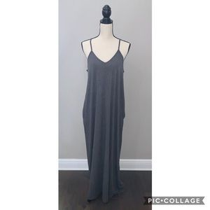 Dresses & Skirts - V-Neck Harem Maxi Dress with Pockets in Charcoal